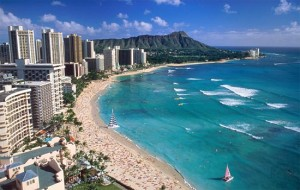 Waikiki Beach, Island of Oahu in Hawaii