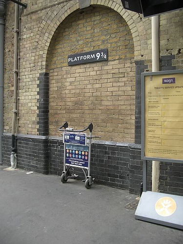 Platform 9 3/4 made famous by Harry Potter